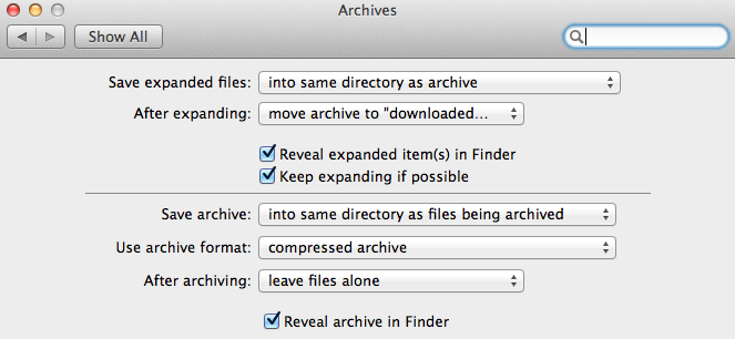 OS X Archives Settings Panel